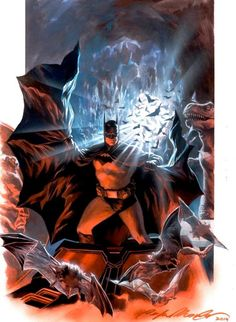 Alex Ross/Batman Tribute piece by Felipe Massafera Alex Ross, Batman Et Superman, Mundo Superman, Batman Artwork, Batman Wallpaper, Comic Book Heroes, Comic Books Art, Comic Art, Gotham