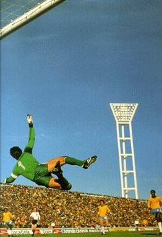 Brazil 1 Austria 0 in 1978 in Mar del Plata. Brazil keeper Emerson Leao dives but the shot goes wide in Group 3 at the World Cup Finals.