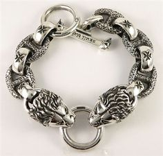 Lion Head Sterling Silver Mens Bracelets Heavy & solid sterling silver bracelet weight 140 grams.
