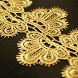 Chemical Lace Golden Flower  Embroidery Lace Trim 11cm Wide