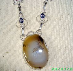 Sterling silver pendant Necklase 925 stamped~Natural Agate Gemstone~PRETTY*gift*