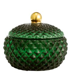 Dark green. Jar in textured glass with a lid. Size approx. 4 x 4 1/4 in.