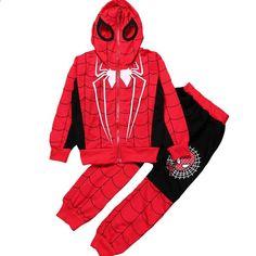 소년 만화 스파이더 맨 어린이 까마귀 자켓과 바지 아기 어린이 귀여운 아우터 의류 코트 의상 긴 소매 면화 의상 Spiderman, Superhero, Fictional Characters, Cute Coats, Jacket With Hoodie, Cartoons, Toddler Girls, Suits, Spider Man