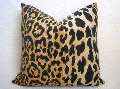 Designer Leopard Velvet Pillow  Gold  18 inch  by WillaSkyeHome, $52.00