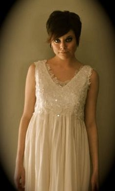 Fun, short, Silk, hand pleated Wedding Dress with Lace overlay, very feminine and ethereal, retro, long or short, custom made, A line. $995.00, via Etsy.