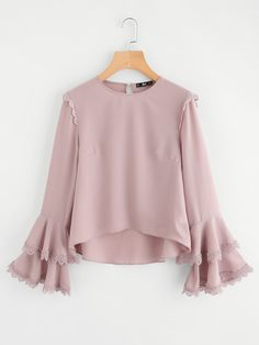 SheIn offers Lace Trim Tiered Trumpet Sleeve Top & more to fit your fashionable needs. Girls Fashion Clothes, Girl Fashion, Fashion Dresses, Cute Comfy Outfits, Classy Outfits, Blouse Styles, Blouse Designs, Hijab Fashion Inspiration, Designs For Dresses