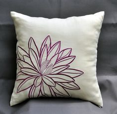 Purple Lotus Throw Pillow Cover ,Decorative Pillow Cover 18 x 18, Light yellow with deep purple flower, Yellow Pillow Case, Purple Cushion. $21.00, via Etsy.