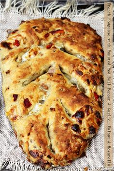 French Fougasse With Roasted Red Bell Pepper, Garlic, Walnut .