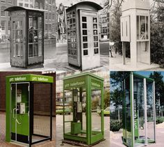 De geschiedenis van de Nederlandse telefooncel in beeld (vlnr): de Engelse modellen uit 1931 (eerste twee), de 'koudebenencel' (eveneens uit 1931), twee modellen van architectenbureau Brinkman en Van der Vlugt (nummer 4 en 5) wiens ontwerpen zo'n vijftig jaar meegingen, en het 'driekantmodel' (geïntroduceerd in 1983). foto GPD