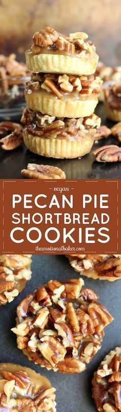 Pecan Pie Shortbread Cookies Have pecan pie in cookie form! These Pecan Pie Shortbread Cookies feature a buttery crust and are topped with maple caramel pecans. Cookie Desserts, Vegan Desserts, Just Desserts, Cookie Recipes, Delicious Desserts, Dessert Recipes, Yummy Food, Pecan Recipes, Vegemite Recipes