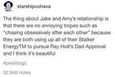 Truth I mean Amy gifted holt with a bomb 😭😂 if that's not stalker-ish I don't no what is lol Jake And Amy, Jake Peralta, Fandoms, Brooklyn Nine Nine, Parks N Rec, Shows On Netflix, Verse, Text Posts, Best Shows Ever