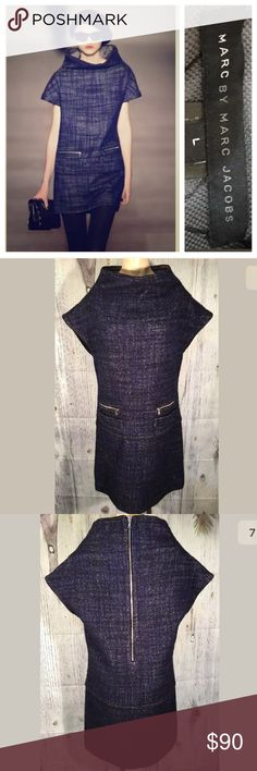 Marc by Marc Jacobs Wool structured Dress Sz L Marc By Marc Jacobs  Tweed Dress Gettysburg Blue Wool Blend originally $398 Sz Large  Short sleeves with 2 patch pockets large exposed zip at the back with contrast lining In great condition no rips or stains. Bust: 38 waist 36 length 38 Marc by Marc Jacobs Dresses Midi