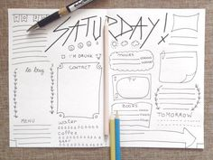 saturday journal printable daily planner agenda di LaSoffittaDiSte