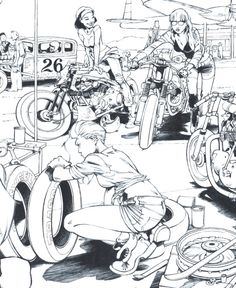 """From the """"Sketchbook Fane published by Comix Buro in june Motorcycle Art, Bike Art, Blitz Motorcycles, Comic Book Layout, Sketch Tattoo Design, Bd Comics, Cool Sketches, Comic Book Artists, Cartoon Art"""