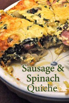 Sausage and Spinach Quiche, with a Shredded Potato Crust and Greek yogurt custard #EasyQuiche #QuicheForTwo #PotatoCrust #SpinachQuiche