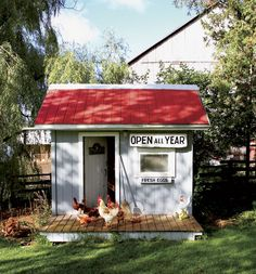 This chicken coop was fashioned from an old playhouse. See more of this charming Canadian farmhouse surrounded by a grassy yard populated with good-natured Rhode Island red chickens.    - CountryLiving.com