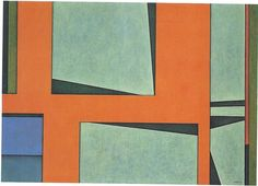 Gunter Gerzso 1912 - 2000 Naranja-azul-verde oil and sand on canvas
