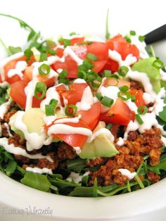 Raw taco salad close up