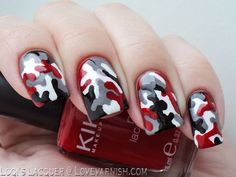 Red Camouflage Nails