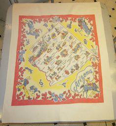Vintage 1950s SOUVENIR Tablecloth Arizona Fun w by unclebunkstrunk, $64.99