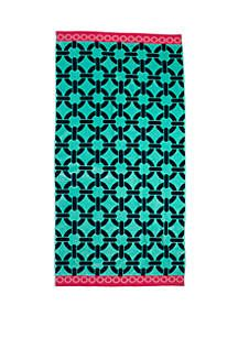 """New THE BIG ONE 34/"""" x 68/"""" Reversible Beach Towel Multi Color Dots on Black"""