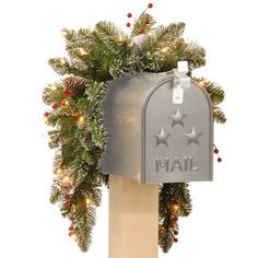 """36"""" Mountain Spruce Mailbox Swag with Battery Operated Lights & Timer"""