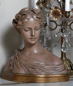 Antique Terra Cotta Bust of Maiden   Antique Accessories   Inessa Stewart's Antiques #antique, #accessories