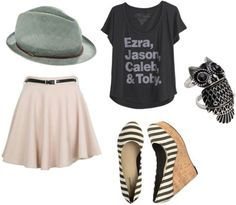 Casual girly combo (pastel swing skirt + black slouchy graphic tee + striped rattan wedges + pastel green fedora + owl ring)