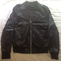 Allsaints leather jacket Beautiful leather jacket with distressed metal accents, barely worn, no flaws. Men's medium, would fit a women's large or extra large. All Saints Jackets & Coats Bomber & Varsity