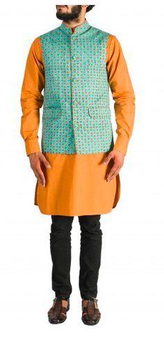 Orange Kurta with Black Churidaar and Blue printed Nehru jacket. Nehru Jacket For Men, Nehru Jackets, Mens Ethnic Wear, Wedding Store, Churidar, Looking Stunning, Men's Collection, Shop Now, Menswear