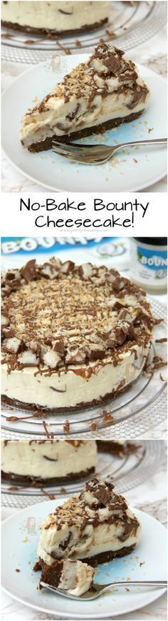 No-Bake Bounty Cheesecake! ❤️ A Coconutty, Sweet, and Delicious No-Bake Coconutty Cheesecake that is guaranteed to satisfy anyones Coconut & Cheesecake cravings!