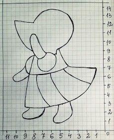 Figure (diagram) and pattern. Applique on the fabric. Sewing Appliques, Applique Patterns, Applique Quilts, Applique Designs, Embroidery Applique, Quilting Designs, Quilt Patterns, Sunbonnet Sue, Girls Quilts