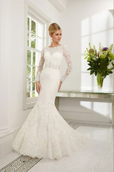2014 Scoop Full Sleeves Beaded Neckline And Waistline Mermaid/Trumpet Wedding Dress Tulle With Applique