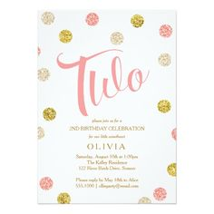 419 best 2nd birthday party invitations images on pinterest 2nd second birthday invitation pink and gold card pink and gold invitations third birthday filmwisefo
