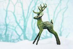 Deer Figurine Christmas Animal Totem Sculpture by DemiurgusDreams
