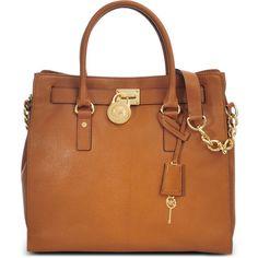 Michael Kors Large Hamilton 18K bag ($349) ❤ liked on Polyvore featuring bags, handbags, tote bags, purses, bolsas, bolsos, beige, handbags & purses, leather hand bags and michael kors purses
