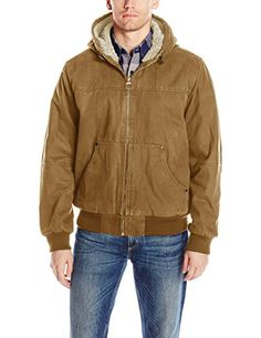 939a16eecb0 GH Bass Men s Heavy Cotton Canvas Hoody Bomber with Sherpa Lined Body and  Hood