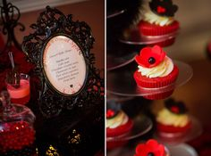 'HOT' Red and Black Bridal Shower Dessert Table » mondeliceblog.com Red Bridal Showers, Bridal Shower Desserts, Elegant Bridal Shower, Dessert Bars, Dessert Table, 40th Party Ideas, Wedding Ideas, Hot Wheels Birthday, Love Fest