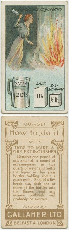 """Vintage Life Hacks: How to Make a Fire Extinguisher ... though I wonder if the solution would """"expire"""" after a certain time like modern/store-bought extinguishers do."""