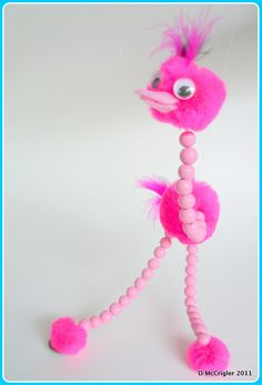 Pompom marionette -- my aunt made me a GIANT version of this out of colored styrofoam balls when I was little and I LOVED it