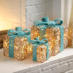 Pre-Lit Iced Turquoise Gift Boxes, Set of 3 | Kirklands