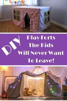 DIY Indoor Play Forts For Kids! Watch your kids imagination and creativity soar with these! This article features 7 DIY kids forts that are perfect for open ended pretend play! Kids Play Area Indoor, Indoor Tent For Kids, Indoor Forts, Kids Tents, Forts Kids, Diy Fort, Kids Sleepover, Decoration, Diys