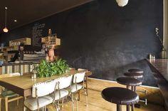 Social Roasting Company, Flemington. Love the chalkboard wall (so damn practical!) and vintage seating.