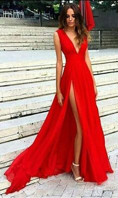 Sexy V-neck Prom Dress,Cheap Prom Dress,Cap Sleeve Prom Dress,Red Split Prom Dresses,Simple Slit Sexy Party Dresses,Chiffon Evening Dresses,Plus Size Elegant Formal Dresses