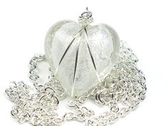 Clear Heart Necklace w/ Silver Foil, Wire Wrapped Pendant, Valentines Womens Gift for Her, Mothers Girlfriend Gift, Hearts for Sick Kids Silver Bracelet For Girls, Silver Chain Necklace, Necklace Price, Heart Pendant Necklace, Silver Jewelry, Heart Necklaces, Women's Jewelry, Silver Ring, Silver Earrings