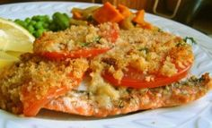 White Wine Poached Salmon with Garlic, Tomato and Onion Topped with Breadcrumbs