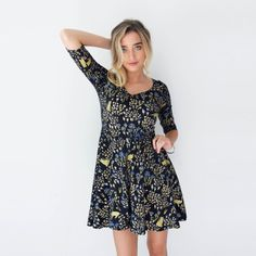 Black 'Cats in Grass' Twirling Dress - Printed Dress- Organic Cotton - Floral Dress - Hand Printed -Slow Fashion -Thief and Bandit®