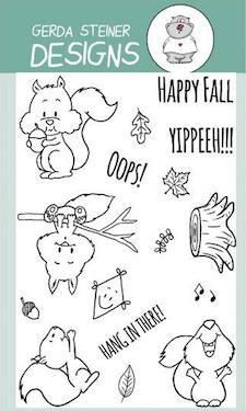 Happy Fall with Squirrel Clear Stamp Set Gerda Steiner Designs gsd-stamps.com