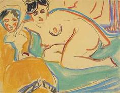 By Ernst Ludwig Kirchner (1880-1938), ca 1908, Zwei liegende Akte, wax crayon and charcoal on paper.