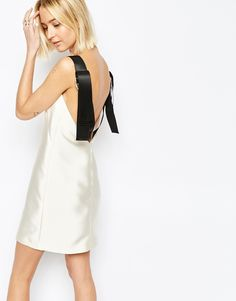 Twill Satin Mini Dress with Strap Detail by ASOS WHITE